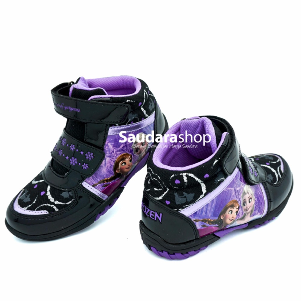 Disney Sepatu Casual Tinggi Frozen Hitam Unggu [28-33] / Sepatu Sekolah Anak TK